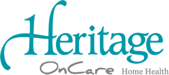A large Heritage OnCare logo in color.