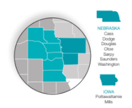 Nebraska and Iowa Map Showing Service Area of Heritage OnCare Home Health